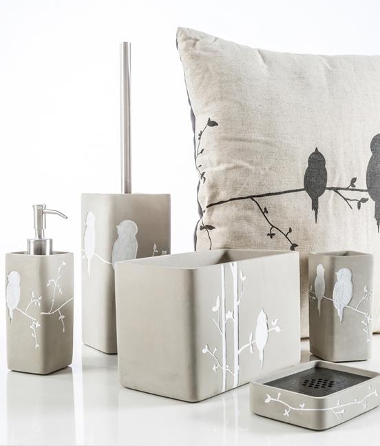 Accessori Da Bagno Design.Collezione Accessori Bagno Birdie Cement Pavone Casa Arredo Bagno E Design Made In Italy